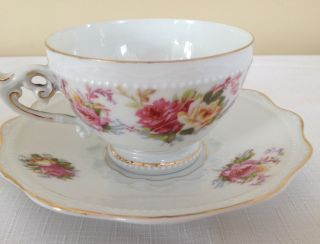 Antique Silesia Pink Yellow Rose Cup & Saucer Signed F Y photo