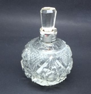 Solid Silver Scent Bottle Cut Glass Crystal Hallmarked photo