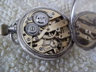 Antique Silver Ladies Fob Watch & Silver Albertina Chain photo