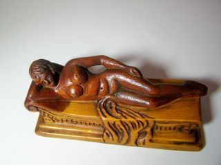 Antique Chinese Carved Mahogany Doctor ' S Medicine Doll Woman Model photo