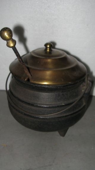 Vintage Cast Iron Pot Brass Lid Stone Fireplace Starter Cauldron photo