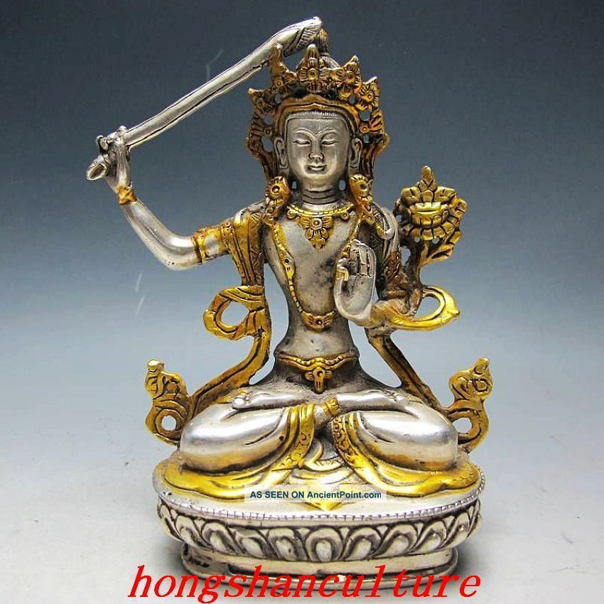 Supurb Chinese Silver Bronze Gilt Tibetan Buddhism Statue - - - Manjushri Buddha Buddha photo