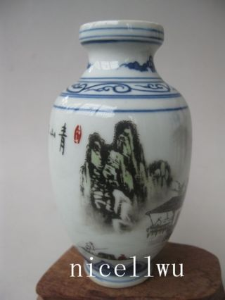 Ancient Chinese Ceramics Of Landscape Design.  Golden Vase photo