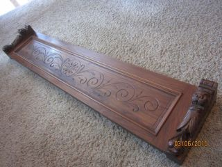 Carved Gothic Griffin Shelf? Victorian Walnut Furniture Pediment Crest Lion Head photo