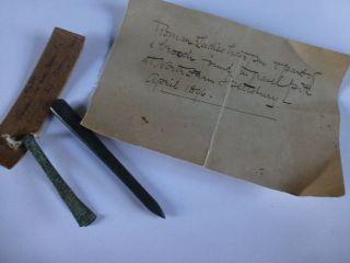 Roman Bronze Tweezers Also Roman Bronze Hair Pin Found 1896 Shafestbury In Ori photo