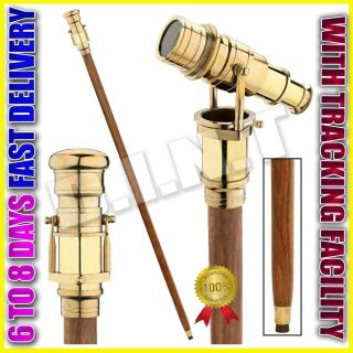 Wooden Nautical Walking Stick Cane Brass Telescope On Handle Mk2025 photo