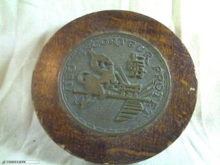 Vintage French Frigate ' S Bronze Crest On Oak Escort Frigate