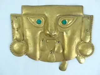 Gilt Metal Funery Mask Pre Columbian SicÁn - Lambayeque Culture photo