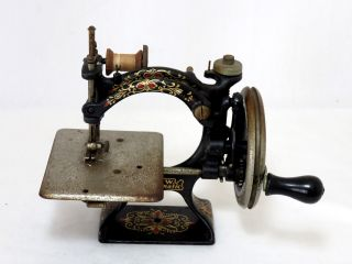 Rare Model 1900 Antique Childs Cast Iron Sewing Machine Salesmans Sample ? photo