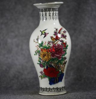 Chinese Porcelain Vase Rare Flower Pattern Paintings Cx969 photo
