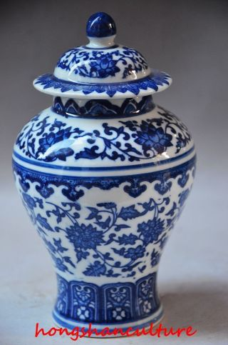 Exquisite Chinese Blue And White Porcelain Hand Painted Flower Jar photo