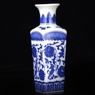 Hand - Painted Chinese Quartet Painted Flowers Porcelain Vase W Qian Long Mark photo