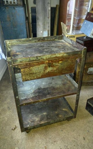 Vintage Industrial Bar Cart Rolling Metal Drawer Cart Awesome Patina Lyon Mfg photo