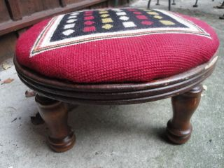 Old / Vintage Wool Needlepoint Wood Foot Stool Bench photo