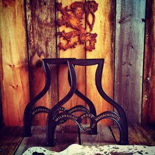 Table Leg Base Cast Iron Industrial Antique Style Gold Gilt Letters Live Edge photo