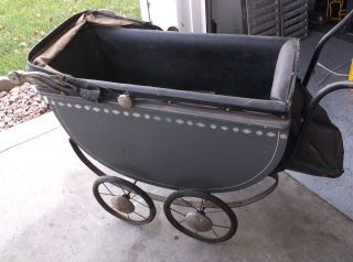 Antique Baby Buggy/strolle/carriage Very For The Era photo