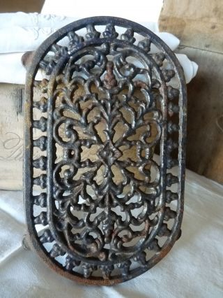 Antique Gorgeous French Cast Iron Black Trivet photo