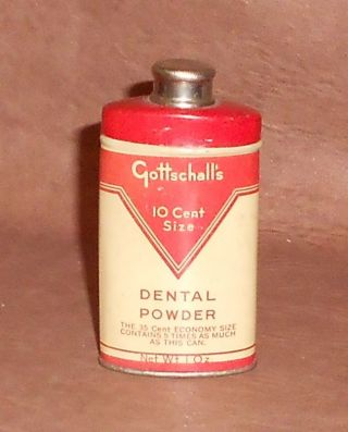 C1930 Antique Dental Tooth Powder Tin Gottschall ' S Dental Powder Full Contents photo