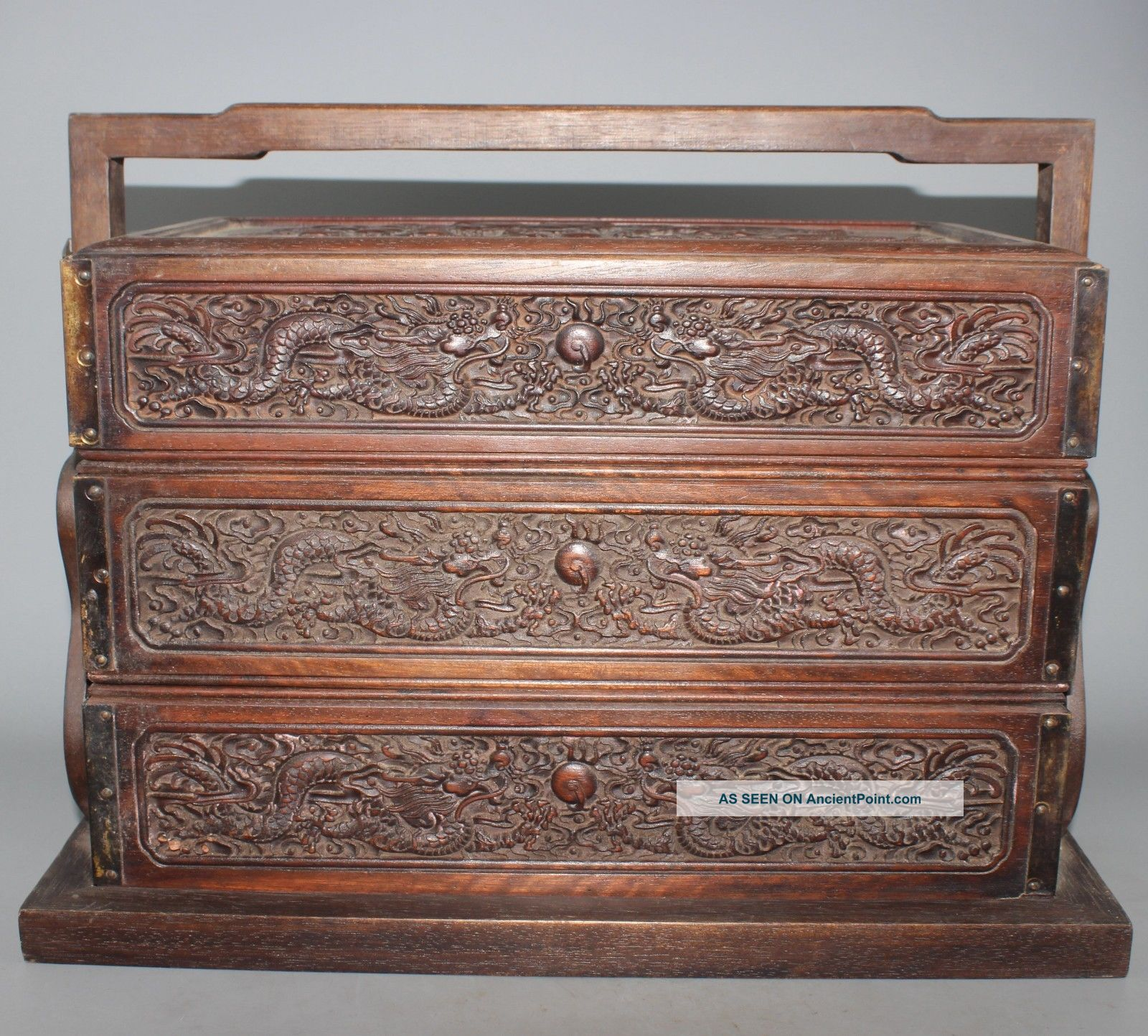 Vintage/antique Ornate Carved Wood Chinese Box/storage Chest Stamp On Bottom Boxes photo