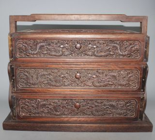 Vintage/antique Ornate Carved Wood Chinese Box/storage Chest Stamp On Bottom photo