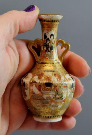 Antique Japanese Signed Miniature Hand Painted Satsuma Pottery Vase Urn,  Nr photo