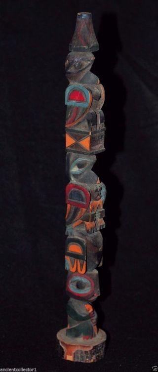 Large Antique Northwest Coast Native American Indian Carved Cedar Totem Pole photo