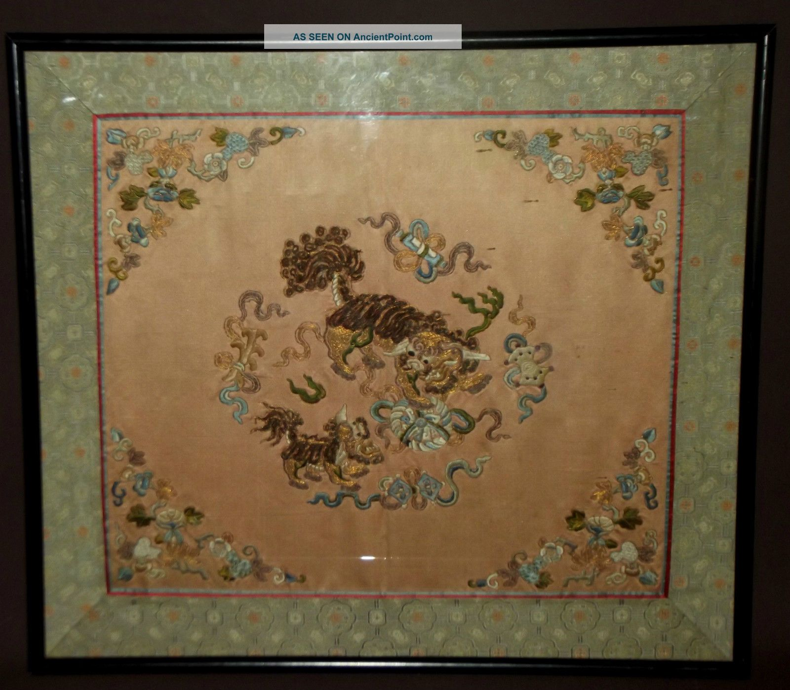 A Quality Antique Vintage Chinese Silk Embroidery Qing Dynasty Circa 19th C Textiles photo
