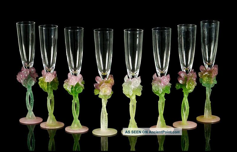 daum pate de verre glass 8 champagne flutes rose signed. Black Bedroom Furniture Sets. Home Design Ideas