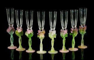 Daum Pate De Verre Glass 8 Champagne Flutes Rose Signed Antique Nancy France Art photo