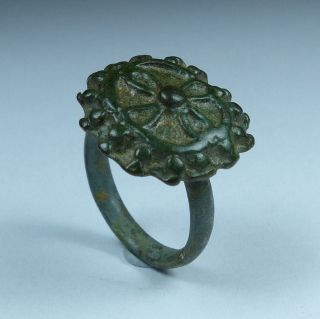 Ancient Roman Bronze Ring With Cross 3rd/4th Ad photo