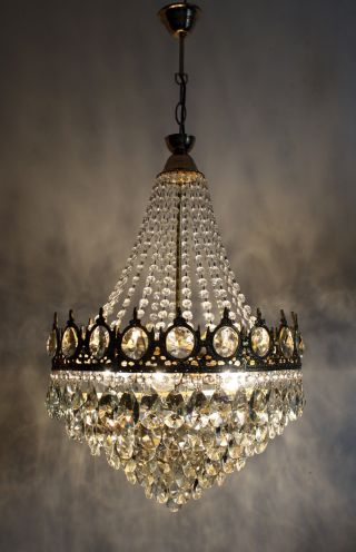 Antique / Vintage French Basket Style Brass & Crystals Chandelier Ceiling Lamp photo