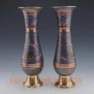 Oriental Vintage A Pair Brass Cloisonne Gilt Handwork Painting Peacock Vases photo