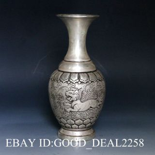 Chinese Silver Copper Handcarved Vase W Kangxi Mark photo