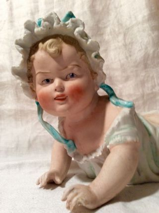 Antique German Porcelain Bisque Piano Baby Girl Figurine photo