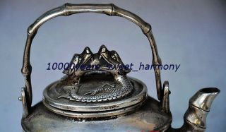 Old Collectible Decoration Silver Copper Handwork Dragon Teapot photo