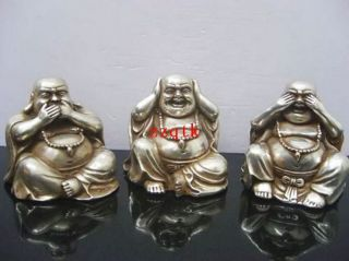 Collectables Old Chinese Tibet Silver Carved Buddha Figurines Cx1115 photo