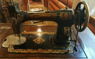 Antique White Sewing Machine,  With Cabinet photo