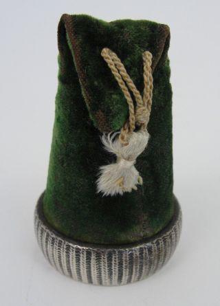 Antique Gorham Sterling Silver Velvet Sewing Pin Cushion Stocking Nightcap Hat photo