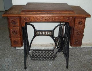 Vintage 1901 Singer Sewing Machine Model 27 Treadle Pedal Cabinet Puzzle Box, photo