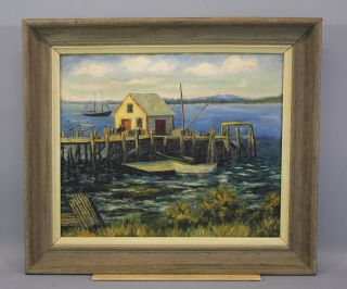 Antique Early 20thc O/c Fishing Boat Dock Harbor Nautical Oil Painting Nr photo