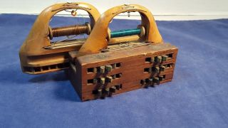 Early 1900 ' S Textile Loom Shuttle Double Bobbin Wooden With Wood Gears Weaving photo