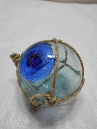 Vintage Glass Fishing Float Blue/green Blue Seal Mark 56 2.  25