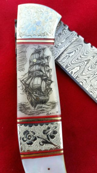 Hand Etched,  Scrimshaw By Shar,  Custom Made Damascus Steel Folding Knife/knives photo