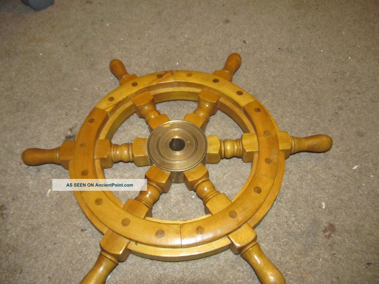 Old Vintage Real Ships Boat Yacht Steering Wheel 16 Inch Brass & Wood Wheels photo