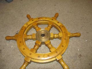 Old Vintage Real Ships Boat Yacht Steering Wheel 16 Inch Brass & Wood photo