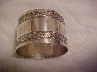 Silver Napkin Ring 1 1/4 Inch Tall Marked W/ Man ' S Head G B In Diamond photo