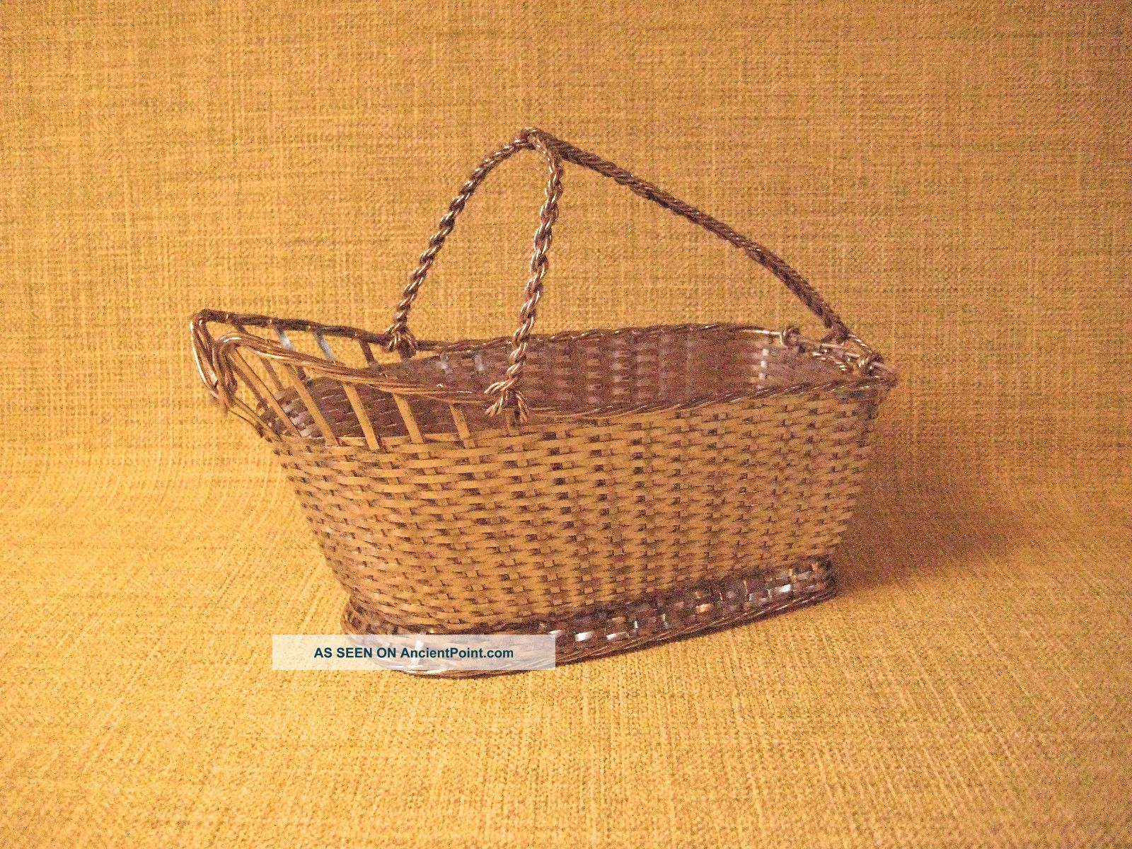 Christofle Silver Plate Woven Wine Basket/bottle Caddy Gallia France Vintage Vgc Baskets photo