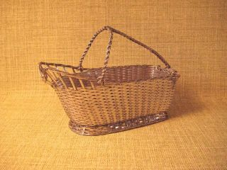 Christofle Silver Plate Woven Wine Basket/bottle Caddy Gallia France Vintage Vgc photo