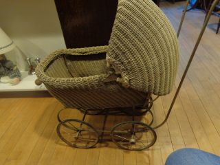 Antique 1920 ' Swicker Baby Carriage Buggy Doll Stroller Pram Tram photo