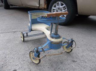 Vintage Mid Century 1950s Taylor Tot Baby Stroller Walker No.  45 Blue photo